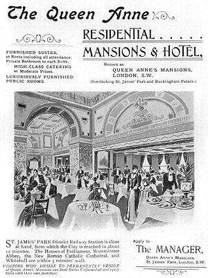 Queen Anne's Mansions - Advertisement for the hotel and mansions, 1901