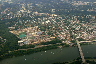 Aerial view of Georgetown University campus in 2011