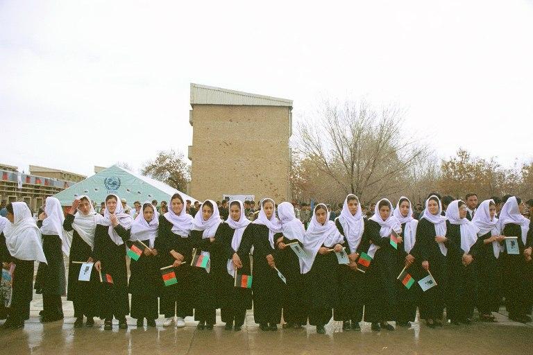 Afghan school girls in 2002