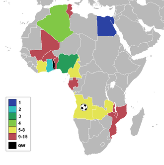 2010 Africa Cup of Nations - A map of Africa showing the qualified nations, highlighted by stage reached.