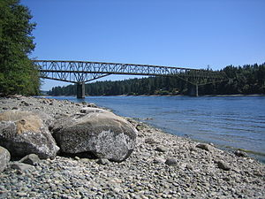Agate Pass - The Agate Pass Bridge from a nearby beach