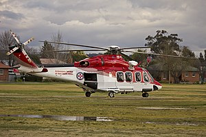 AgustaWestland AW139 (VH-SYZ) operated by Lloyd Off-Shore Helicopters for Ambulance Service of New South Wales as Rescue 24 at the Duke of Kent Oval Helipad.jpg