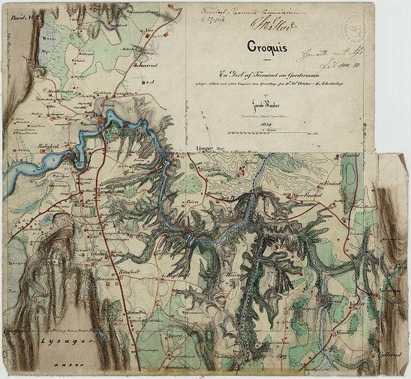 600px akershus amt nr 109 24  croquis over en deel af terrainet om gardermoen%2c 1859