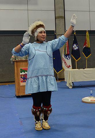 Inu-Yupiaq - Inu-Yupiaq dancer performing in a kuspuk.