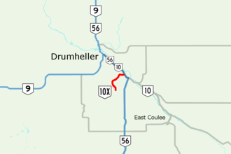 Alberta Highway 10 - Highway 10X highlighted in red