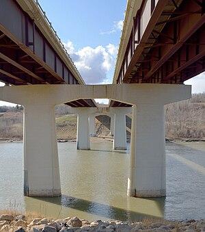 Alberta Highway 60 - Twin bridges carry Highway 60 over the North Saskatchewan River near Devon