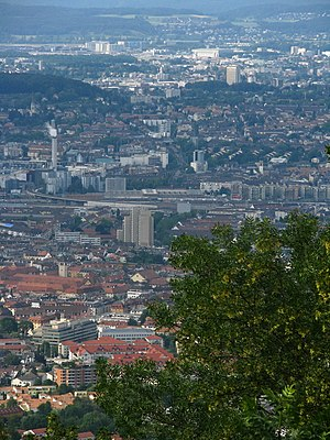 Opfikon - Zürich, Opfikon and Kloten as seen from the Albis