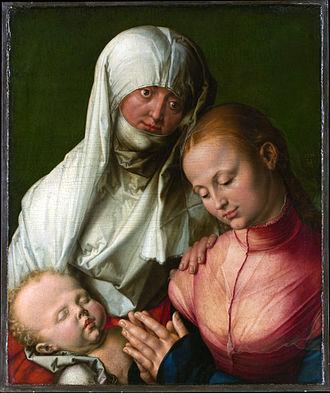 Agnes Dürer - Anna trio: Agnes Dürer was the model for Anna (with headscarf), 1519, Metropolitan Museum of Art, New York