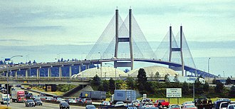Alex Fraser Bridge - Alex Fraser Bridge, looking southbound from Annacis Island.