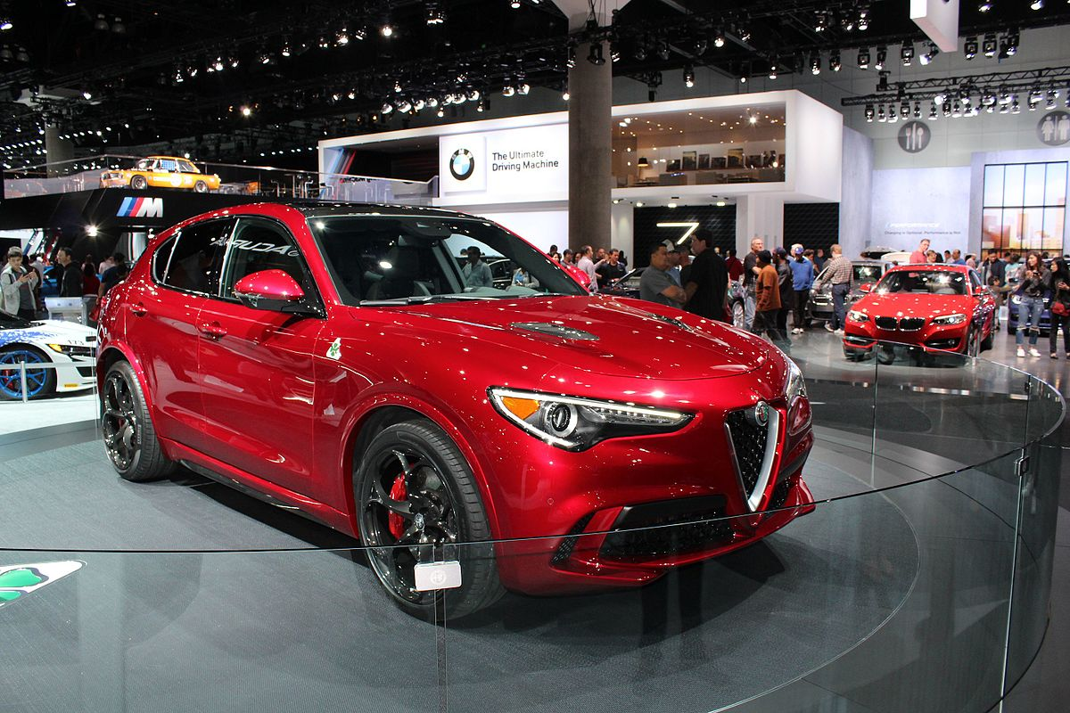 Alfa Romeo Stelvio on model a car door