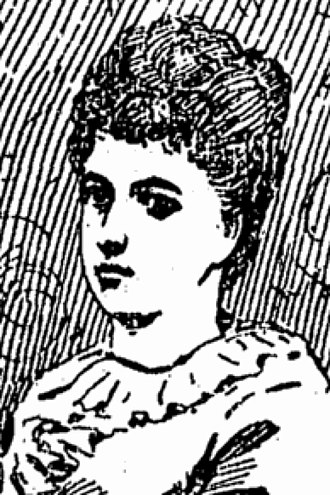 Alice Maud Hartley - Self-portrait of Alice Maud Hartley as copied by a newspaper artist, 1894