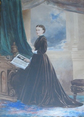John Arthur Fraser - Alice Starr Chipman Tilley (1868) watercolour over photograph