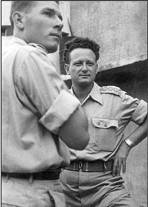 Moshe Kelman - Moshe Kelman (left) with Yigal Allon, 1948.