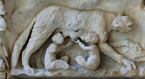 Mars (mythology) - She-wolf and twins from an altar to Venus and Mars