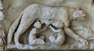 Mars (mythology) - She-wolf and twins Romulus and Remus from an altar to Venus and Mars