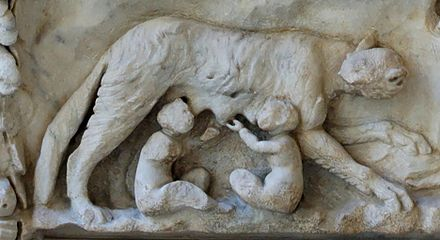 She-wolf and twins Romulus and Remus from an altar to Venus and Mars Altar Mars Venus Massimo lupa.jpg