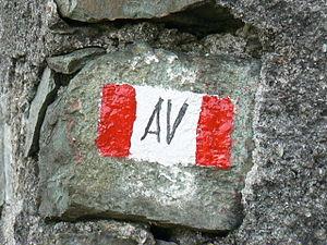 Alta Via dei Monti Liguri - AV trail marker