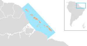 Amazon Reef - Map of the Amazon Reef, relative to Brazil, French Guiana and Suriname, with main reef structures highlighted in orange