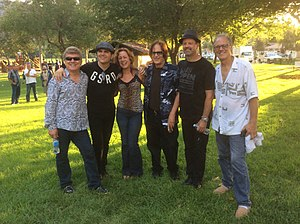 Ambrosia (band) - Ambrosia between sets at an outdoor concert in Agoura Hills, California on August 3, 2014. L to R: Joe Puerta, Ken Stacey, Mary Harris, Christopher North, Doug Jackson, Burleigh Drummond