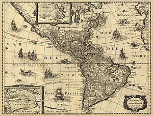 America noviter delineata; map of the Americas ca. 1640.