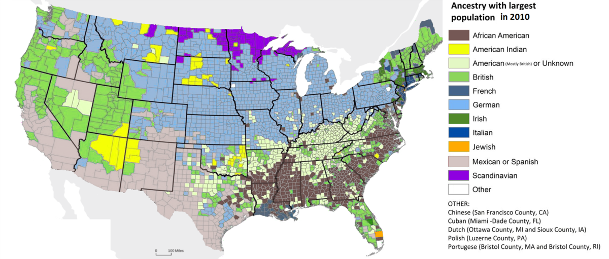 British Americans Wikipedia - Us census ancestry map