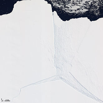 Amery Ice Shelf - Satellite image of a portion of the Amery Ice Shelf, where three giant rifts meet.