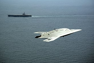 Northrop Grumman X-47B - An X-47B in flight near the Bush on 14 May 2013