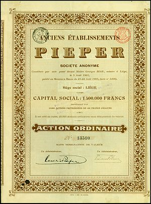 Anciens Etablissements Pieper - Share of the Anciens Établissements Pieper SA, issued 1905