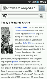 The mobile version of the English Wikipedia Main Page in the Android web browser on a Samsung i5800