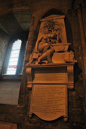 """Anna Seward - There is a plaque to Anna Seward (spelled """"Anne"""", which is the spelling she used in her will) in Lichfield Cathedral."""