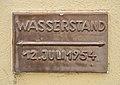 Ansitz Marbach an der Donau - flood level sign.jpg