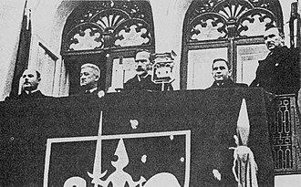 Historical Presidential Palace, Kaunas - Antanas Smetona speaking from the balcony of the Presidential Palace