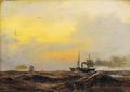 Anton Melbye - Skibe på havet, solnedgang - 1847.png