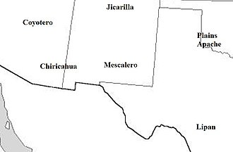 Apache–Mexico Wars - The approximate locations of the principal Apache tribes, ca. 1840. Most of the raids into Mexico were carried out by the Chiricahua and Mescalero.