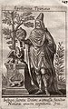 Apollonius Tyanaeus - Apollonius of Tyana in a hat holding an orb. With dragon, sphinx and tree, page 147.jpg