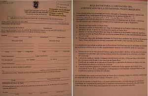 Puerto Rican citizenship - Image: Application Form for Certificate of Puerto Rican Citizenship