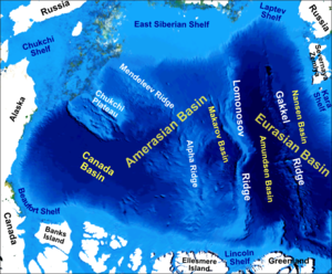 Lomonosov Ridge - Main bathymetric/topographic features of the Arctic Ocean