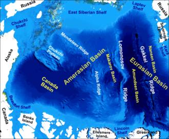 Gakkel Ridge - Main bathymetric/topographic features of the Arctic Ocean