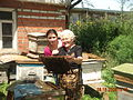 Armenian Grandma involved in Beekeeping.JPG