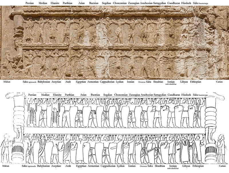 Ethnicities of the Achaemenid Army, on the tomb of Darius I. The nationalities mentioned in the DNa inscription are also depicted on the upper registers of all the tombs at Naqsh-e Rustam, starting with the tomb of Darius I. The ethnicities on the tomb of Darius further have trilingual labels on the lintel directly over them for identification, collectively known as the DNe inscription. One of the best preserved friezes, identical in content, is that of Xerxes I. Armies of Darius I.jpg