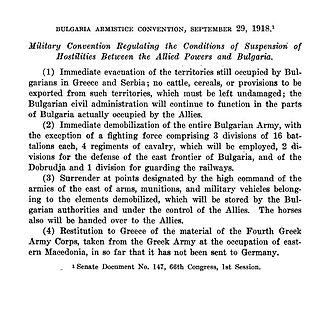 Armistice of Salonica - The official terms of the Armistice with Bulgaria.