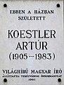 Arthur Koestler plaque Budapest06.jpg