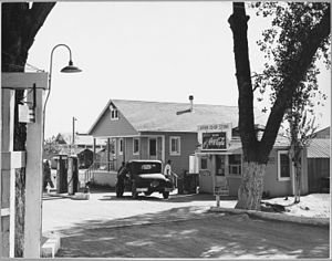 Arvin, California - Entrance of the Arvin Farm Labor Camp, 1940