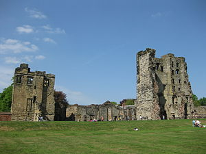 Ashby de la Zouch Castle - The castle seen from the south-west, showing the Kitchen Tower (left) and the Great Tower (right)