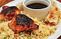 Asian glazed chicken on fried rice (6107408438).jpg