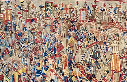 The Portuguese forces, personally commanded by King Afonso V, in the conquest of Asilah, Morocco, 1471, from the Pastrana Tapestries. Assault-on-Asilah.JPG