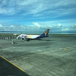 Atlas 747-400F N492MC at AKL operating Tasman cargo services for Qantas. (26084867130).jpg