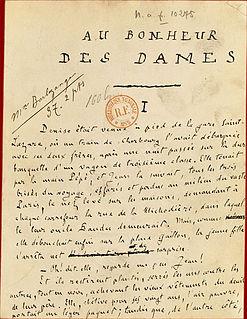 <i>Au Bonheur des Dames</i> novel by Émile Zola