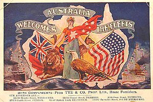 Great White Fleet - A 1908 postcard welcoming the fleet to Australia