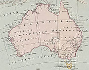 Many maps of Australia show the Southern Ocean lying immediately to the south of Australia.